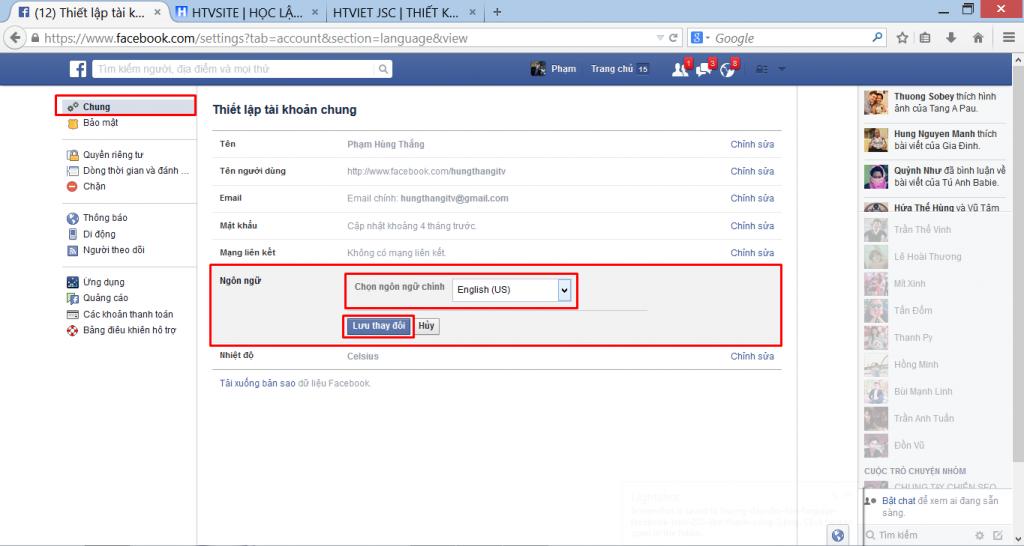 Hướng dẫn đổi Facebook sang ngôn ngữ tiếng Anh