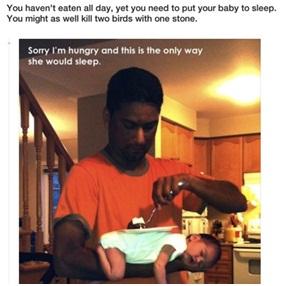 ừa cho con ngủ, vừa tranh thủ ăn