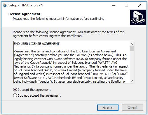 2. Chấp nhận điều khoản của HMA VPN Pro