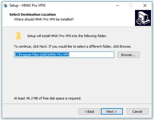 3. Chọn nơi cài đặt HMA VPN PRO